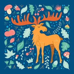 Moose with big horns on the background of forest foliage in a flat style. Cartoon illustration with hand-drawn elk. Colorful vector poster with a cute character in the Scandinavian style.