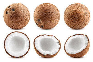 Foto auf Leinwand Palms coconut, isolated on white background, full depth of field, clipping path