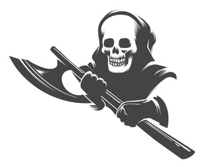 Smiling Skull in the Hood with Executioner Axe in Hands