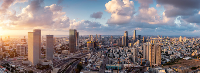 Wall Murals Cappuccino Tel Aviv Skyline At Sunset, Tel Aviv Cityscape Large Panorama At Sunset Time, Israel
