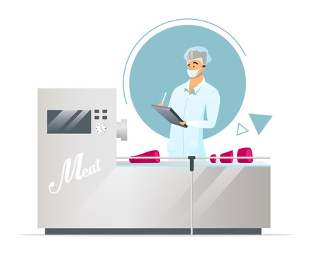 Meat factory flat color vector illustration. Production line supervisor. Meat processing. Quality control. Food industry. Male plant worker. Isolated cartoon character on white background