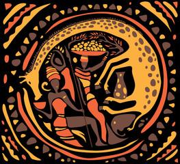 Abstract African Art, circle Shape (Vector Art)