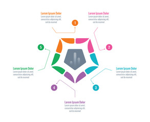 sliced pentagon infographic template. information template with five options