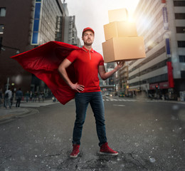 Courier acts like a powerful superhero in a city with skyscrapers. Concept of success and guarantee on shipment