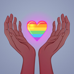 Two open hands raised up holding rainbow heart. Gay Pride. LGBT concept. Realistic style vector colorful illustration. Sticker, patch, t-shirt print, logo design.