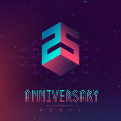 Fototapeta 25 Anniversary night party. Electronic music fest and space poster. Abstract gradients music background. Club party invitation flyer with number Twenty five. obraz