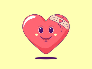 Cartoon red heart with patch on the crack. Cute and friendly character with eyes and smile