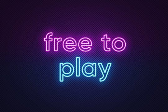 Neon text Free to play, purple and blue color. Business model in video games industry with main content without paying