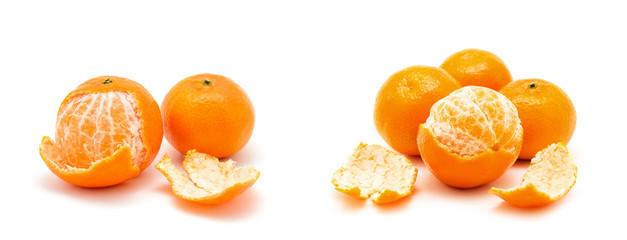 tangerine or mandarin fruit isolated on white background; Papier Peint