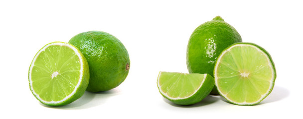 Fresh lime isolated on white Fotobehang