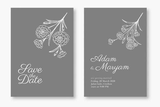 set modern floral outline hand drawn luxury wedding invitation design or card templates for wedding or fashion or greeting with carnation flower texture elegant background bundle vector illustration