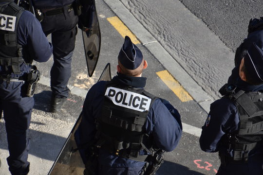 Police force photographed during a protest against french government