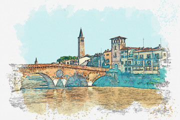 Watercolor sketch of a beautiful view of traditional urban architecture in Verona in Italy. Fotomurales