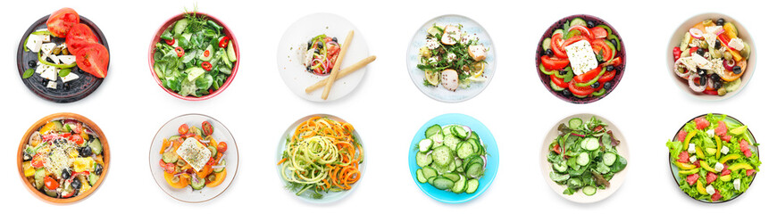 Autocollant pour porte Magasin alimentation Set of different tasty salads on white background