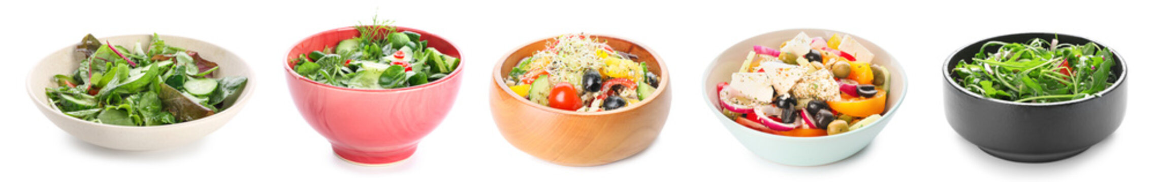 Plate with fresh vegetable salad on white background