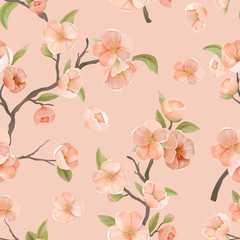 Cherry Flower Seamless Pattern with Blossoms and Leaves on Pink Color Background. Wallpaper or Wrapping Paper Decoration, Textile Ornament, Blooming Sakura Decor for Fabric Art. Vector Illustration