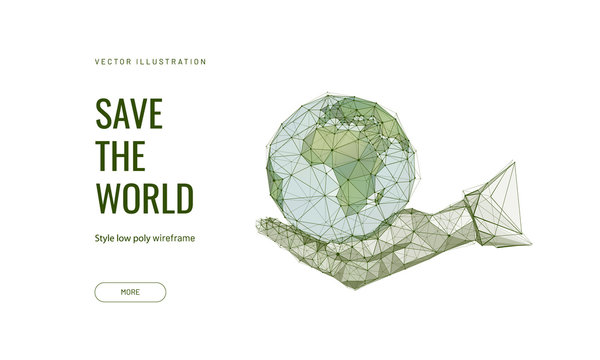 Save the world low poly wireframe landing page template