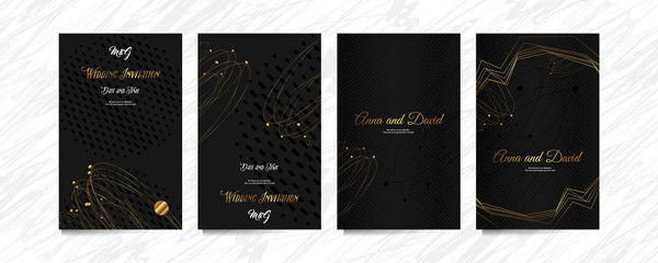 Black and gold design dark background abstract shiny color golden luxury lines template premium