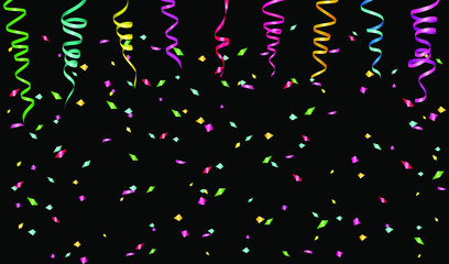 Ribbons of serpentine and color confetti. Background for greeting card, congratulations, invitations. Vector illustration EPS10