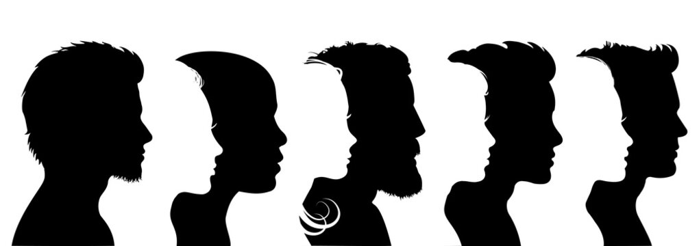 Group young people. Profile silhouette faces boys and girls set – for stock vector