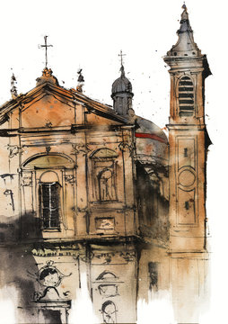 European cityscape, building exterior raster watercolor illustration