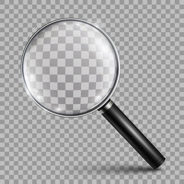 Magnifying glass, big tool instrument – vector