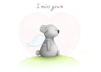cute hand drawn sad koala bear drawing, sitting wearing angel wings, looking sad, with text I miss you, on white background