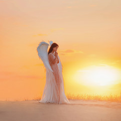 Attractive young woman angel stands in desert praying. Creative glamour design costume clothes with bird wings feathers. Bright yellow color sunset dramatic heaven. Photo Shoot Divine Fairy Spirit