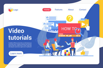 Video tutorials flat landing page vector template. Online students, learners, Internet users faceless characters. Online course, guide, video master class web banner homepage design layout