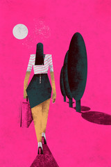 Poster Pink Mysterious woman walking through a pink landscape carrying a pink bag. Feminism.