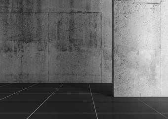 Abstract empty concrete interior with black floor tiling 3d Wall mural