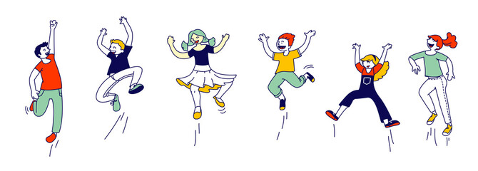 Happy Kids Stand in Row Dancing and Jumping Isolated on White Background. Little Children Rejoice on Summer Time Vacation or Party. Cute Funny Boys and Girls Cartoon Flat Vector Illustration, Line Art