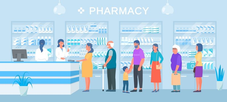 Pharmacy, people medicines buyers queue, smiling pharmacist seller vector illustration. Different pharmacy clients pregnant woman, elderly, man with child stand in line. Shelves with drugs.