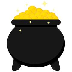 Black cauldron full of golden coins isolated on white background.