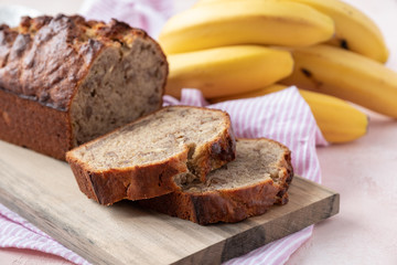 Sliced banana bread with a walnuts nuts