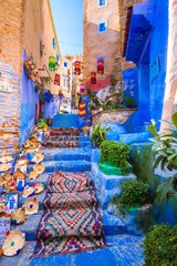 Aluminium Prints Morocco Chefchaouen, a city with blue painted houses and narrow, beautiful, blue streets, Morocco, Africa