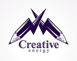 Creative energy power concept shown by two pencils in a shape of lightning bolts crossed, vector logo or icon, the power of idea, design and art, science invention or research.