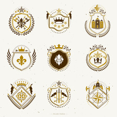 Set of vector vintage emblems created with decorative elements like crowns, stars, bird wings, armory and animals.  Collection of heraldic coat of arms.