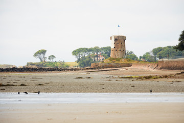 The fortified Jersey Round Tower at Le Hocq Beach