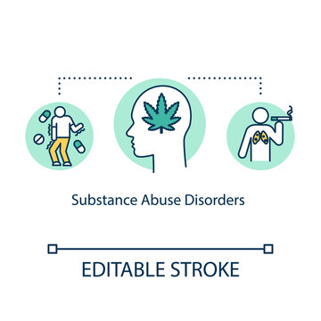 Substance abuse disorders concept icon. Mental illness idea thin line illustration. Drug use. Smoking. Pernicious habits. Vector isolated outline RGB color drawing. Editable stroke