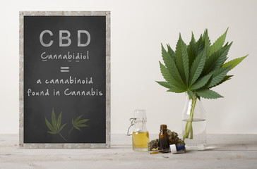 rustic blackboard with text cannabidiol and marujuana cannabis sativa weed leaves bouquet, flower bud and CBD oil in glass dropper bottle, on wooden countertop