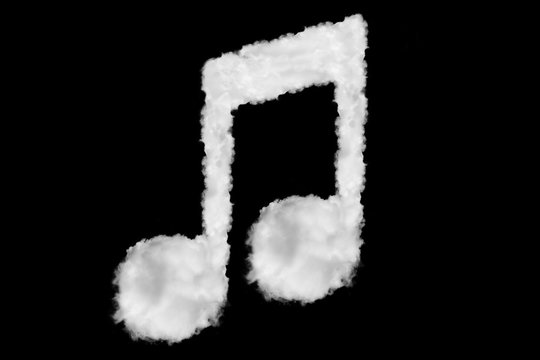 Music note font shape element made of clouds on black background ready for mask or blending modes