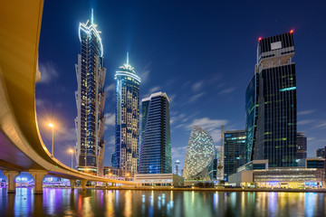 Night skyline of Dubai, United Arab Emirates