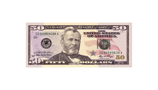 50 Dollars money realistic paper banknotes of USA - vector business art illustration