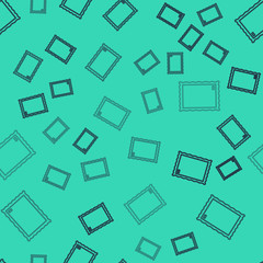 Black line Picture icon isolated seamless pattern on green background. Vector Illustration