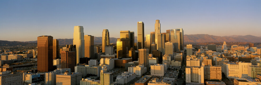 This is a view of the Los Angeles skyline at sunset.