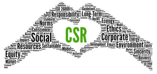 CSR, corporate social responsibility word cloud
