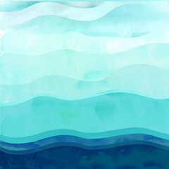 Poster de jardin Abstract wave Marine background with waves.