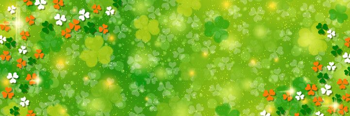 St.Patrick's Day green vector background with clover leaves