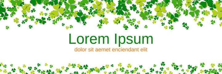 St.Patrick's Day white vector background with clover leaves